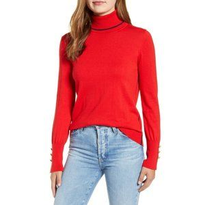 Court & Rowe XXL Button Cuff Tipped Turtleneck Red